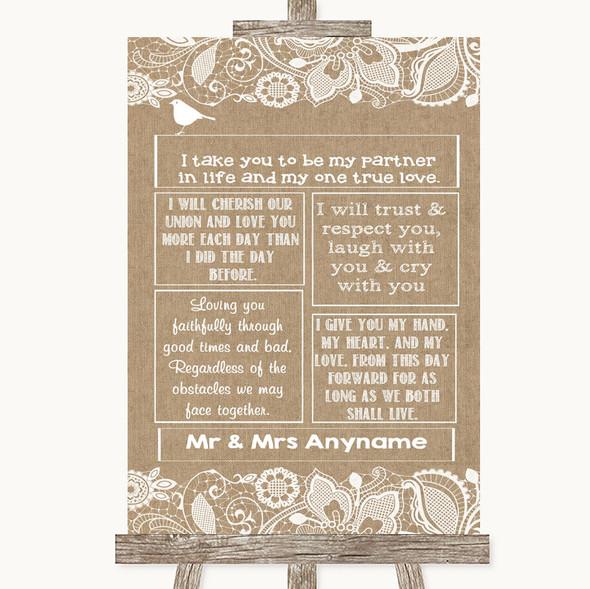 Burlap & Lace Romantic Vows Personalised Wedding Sign