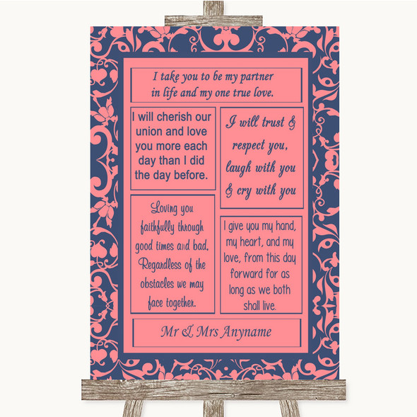 Coral Pink & Blue Romantic Vows Personalised Wedding Sign