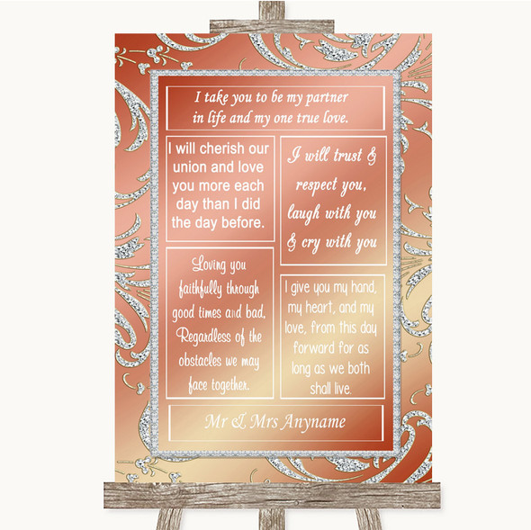 Coral Pink Romantic Vows Personalised Wedding Sign