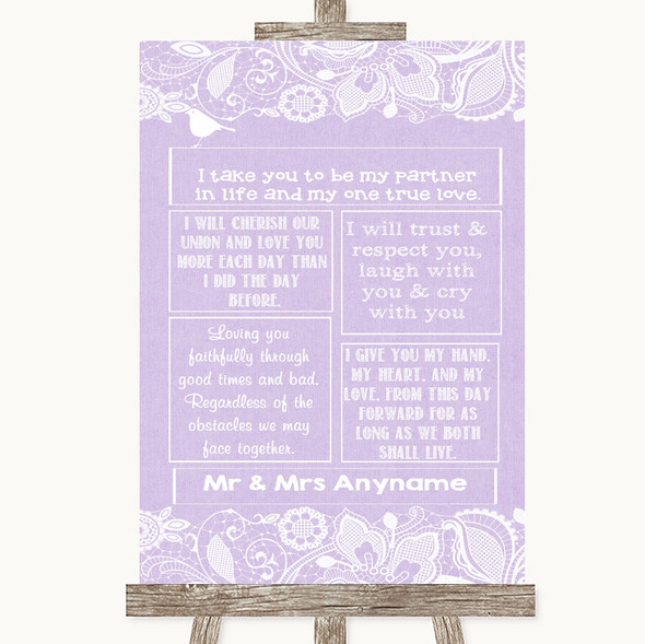 Lilac Burlap & Lace Romantic Vows Personalised Wedding Sign