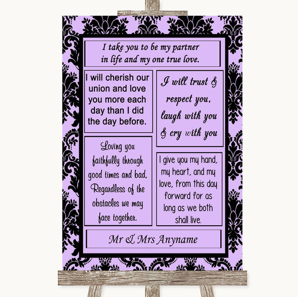 Lilac Damask Romantic Vows Personalised Wedding Sign