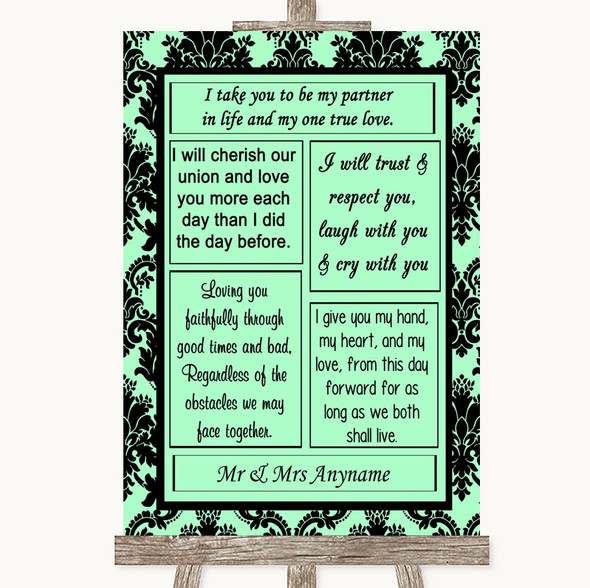 Mint Green Damask Romantic Vows Personalised Wedding Sign