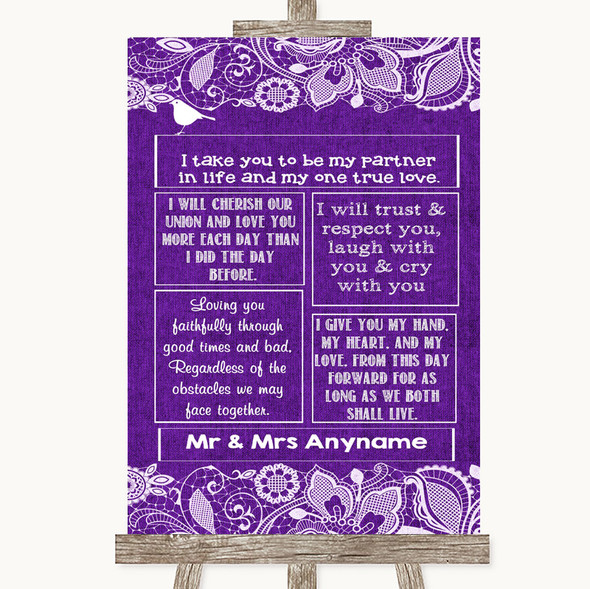 Purple Burlap & Lace Romantic Vows Personalised Wedding Sign