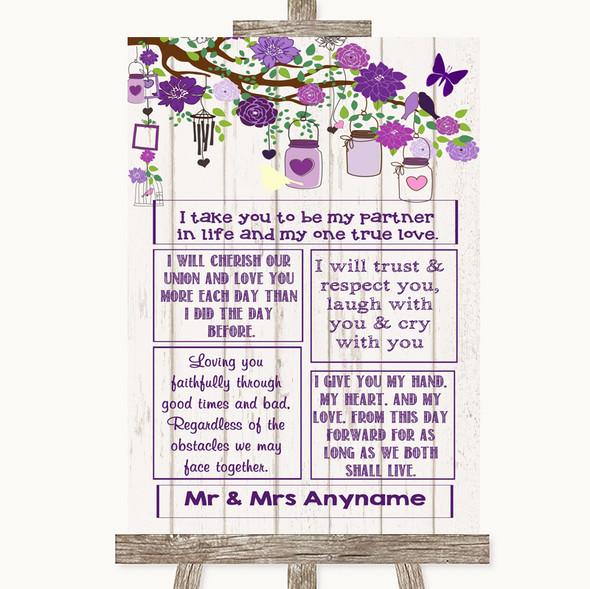 Purple Rustic Wood Romantic Vows Personalised Wedding Sign