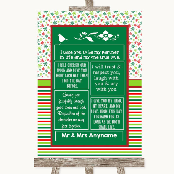 Red & Green Winter Romantic Vows Personalised Wedding Sign