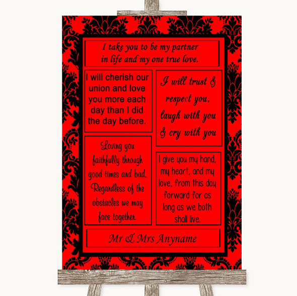 Red Damask Romantic Vows Personalised Wedding Sign