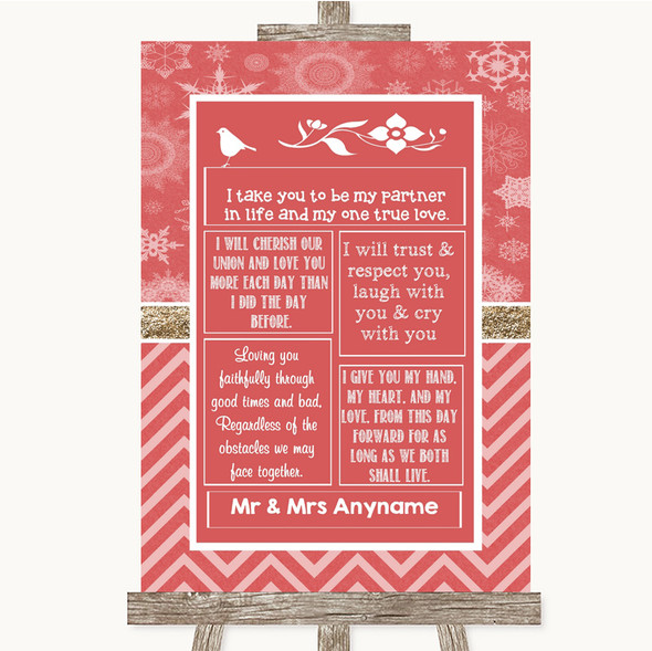 Red Winter Romantic Vows Personalised Wedding Sign