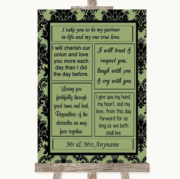 Sage Green Damask Romantic Vows Personalised Wedding Sign