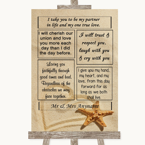 Sandy Beach Romantic Vows Personalised Wedding Sign