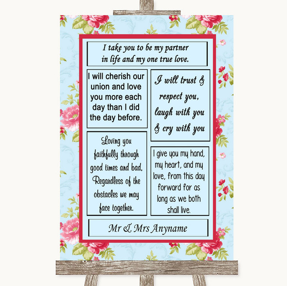 Shabby Chic Floral Romantic Vows Personalised Wedding Sign
