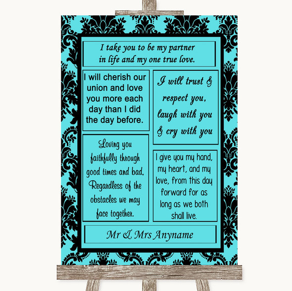 Tiffany Blue Damask Romantic Vows Personalised Wedding Sign