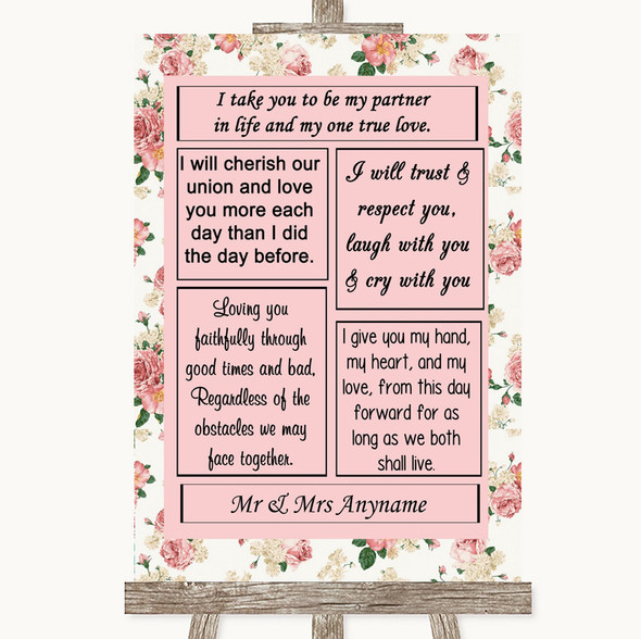 Vintage Roses Romantic Vows Personalised Wedding Sign