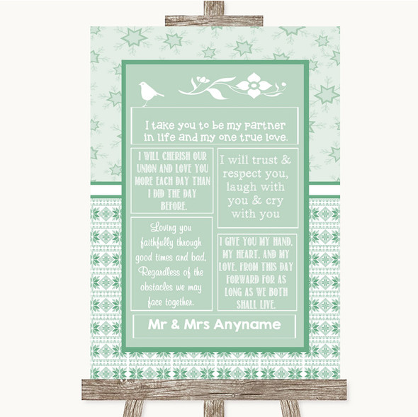 Winter Green Romantic Vows Personalised Wedding Sign