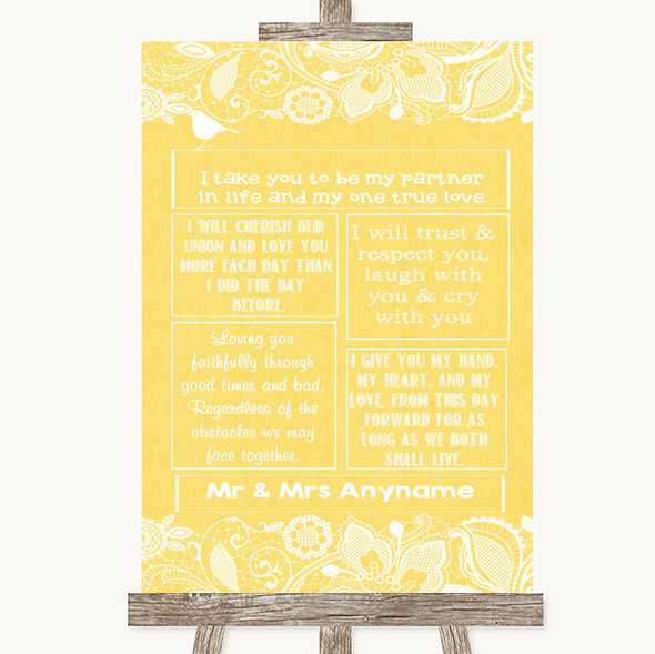 Yellow Burlap & Lace Romantic Vows Personalised Wedding Sign