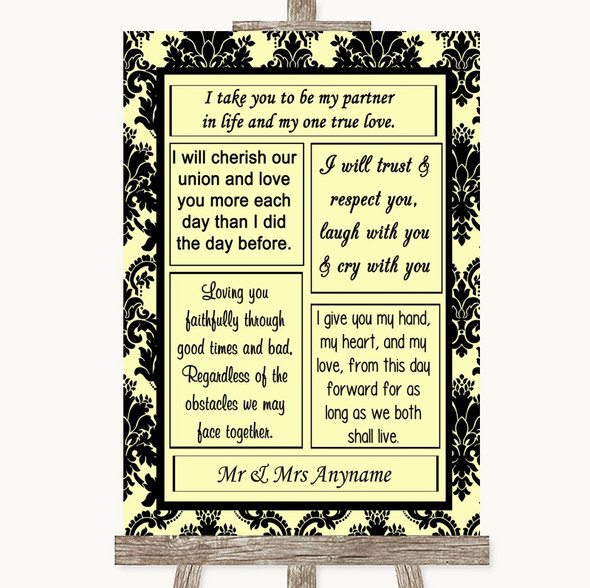 Yellow Damask Romantic Vows Personalised Wedding Sign