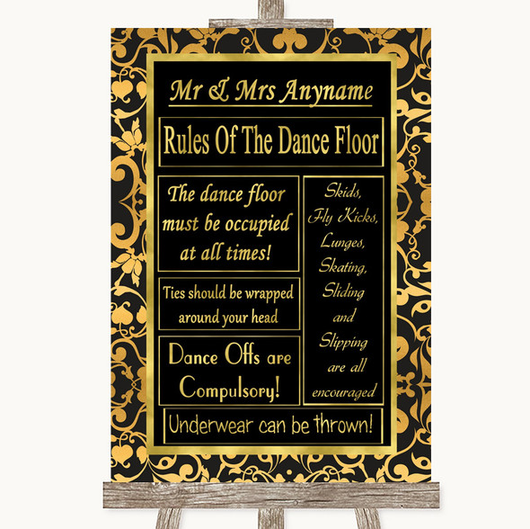 Black & Gold Damask Rules Of The Dance Floor Personalised Wedding Sign