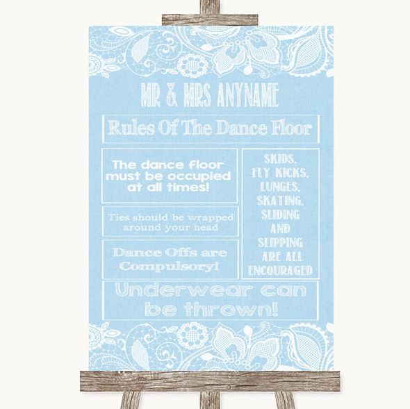 Blue Burlap & Lace Rules Of The Dance Floor Personalised Wedding Sign