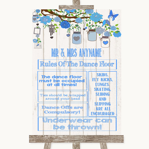 Blue Rustic Wood Rules Of The Dance Floor Personalised Wedding Sign