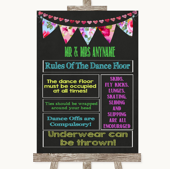 Bright Bunting Chalk Rules Of The Dance Floor Personalised Wedding Sign