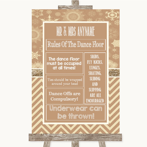 Brown Winter Rules Of The Dance Floor Personalised Wedding Sign