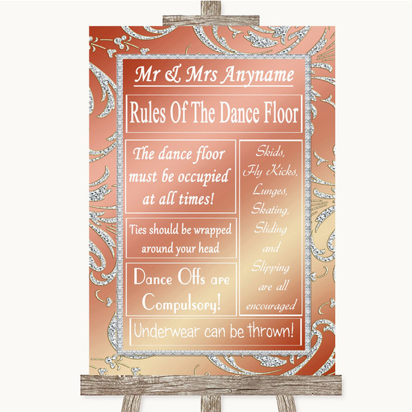 Coral Pink Rules Of The Dance Floor Personalised Wedding Sign