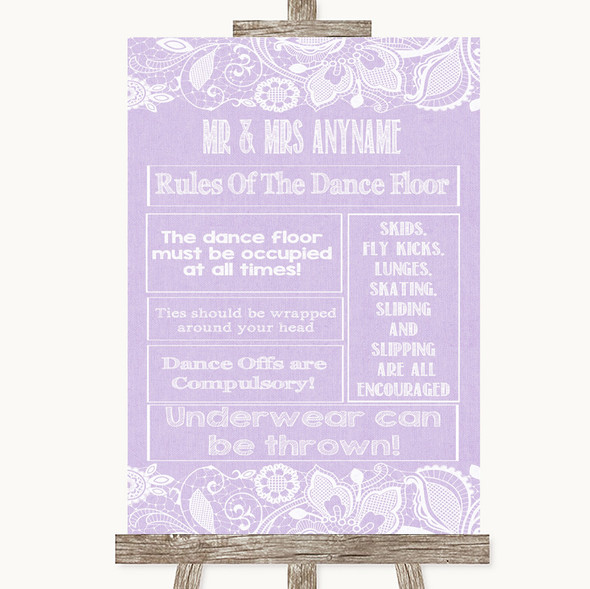 Lilac Burlap & Lace Rules Of The Dance Floor Personalised Wedding Sign