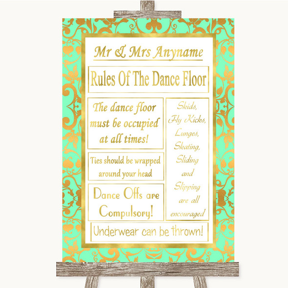 Mint Green & Gold Rules Of The Dance Floor Personalised Wedding Sign