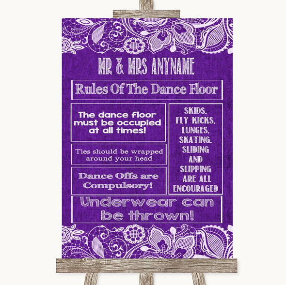 Purple Burlap & Lace Rules Of The Dance Floor Personalised Wedding Sign