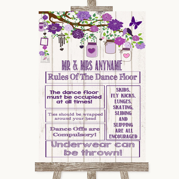 Purple Rustic Wood Rules Of The Dance Floor Personalised Wedding Sign