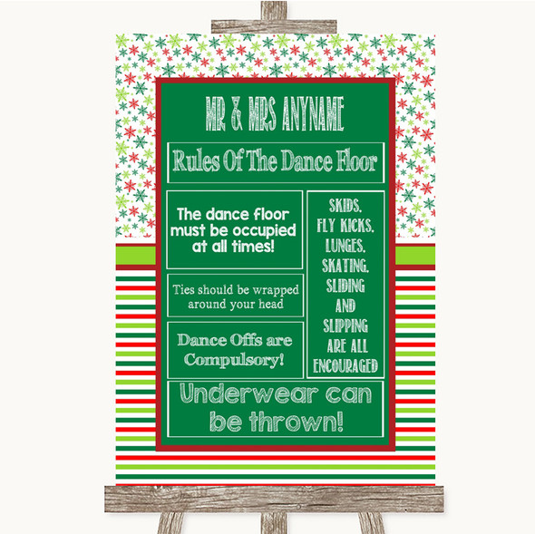 Red & Green Winter Rules Of The Dance Floor Personalised Wedding Sign