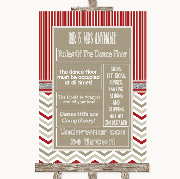 Red & Grey Winter Rules Of The Dance Floor Personalised Wedding Sign