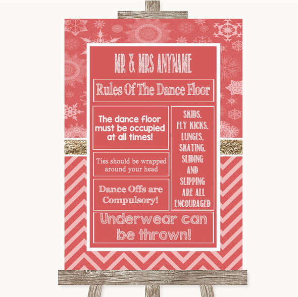 Red Winter Rules Of The Dance Floor Personalised Wedding Sign