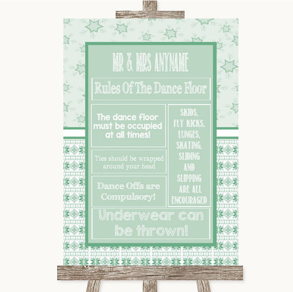 Winter Green Rules Of The Dance Floor Personalised Wedding Sign
