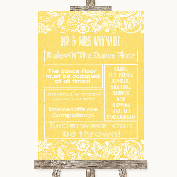 Yellow Burlap & Lace Rules Of The Dance Floor Personalised Wedding Sign