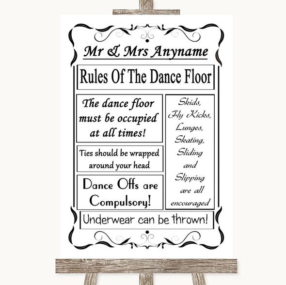 Black & White Rules Of The Dancefloor Personalised Wedding Sign