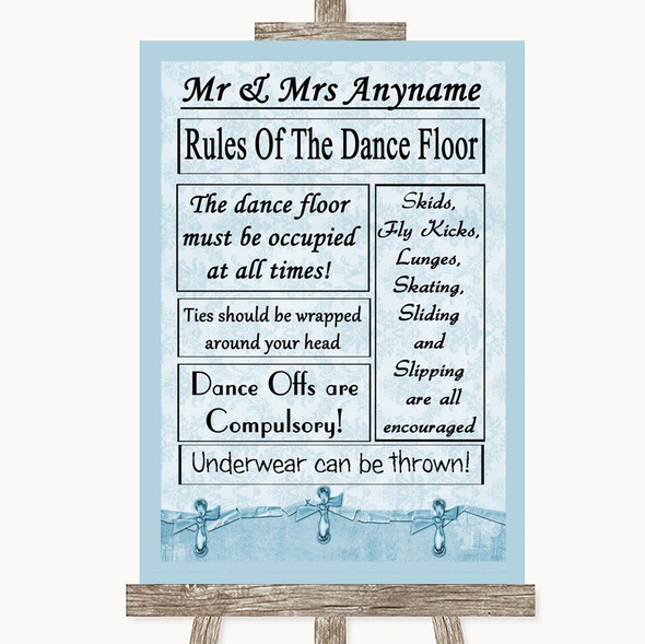 Blue Shabby Chic Rules Of The Dancefloor Personalised Wedding Sign