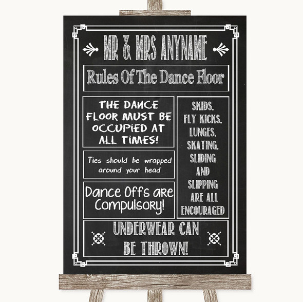 Chalk Sketch Rules Of The Dancefloor Personalised Wedding Sign