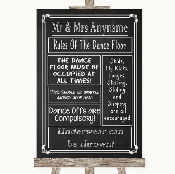 Chalk Style Rules Of The Dancefloor Personalised Wedding Sign