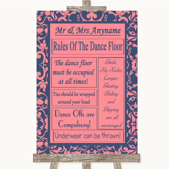 Coral Pink & Blue Rules Of The Dancefloor Personalised Wedding Sign