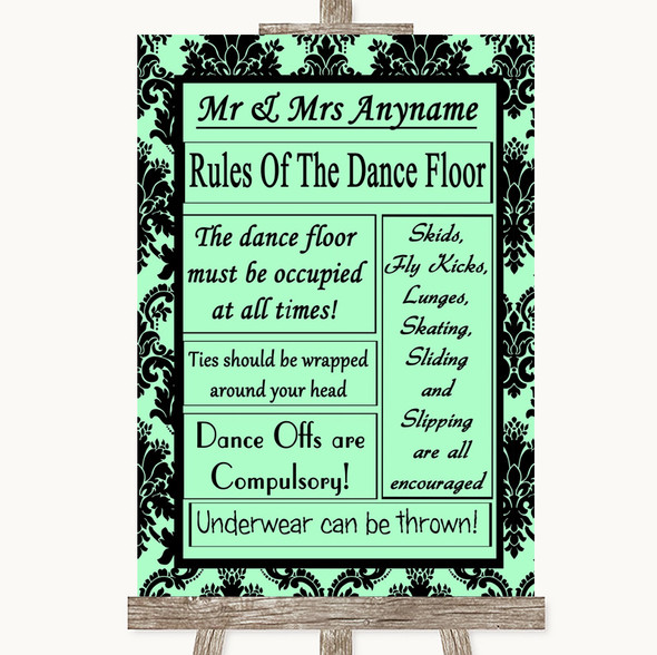 Mint Green Damask Rules Of The Dancefloor Personalised Wedding Sign