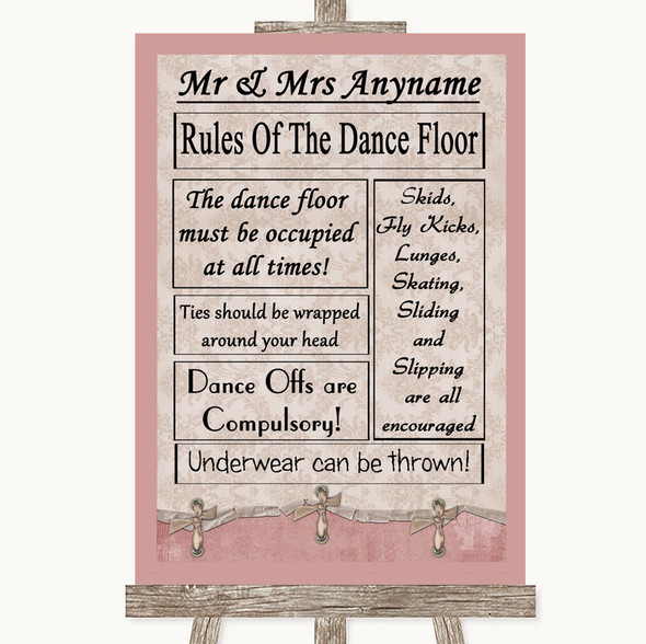 Pink Shabby Chic Rules Of The Dancefloor Personalised Wedding Sign