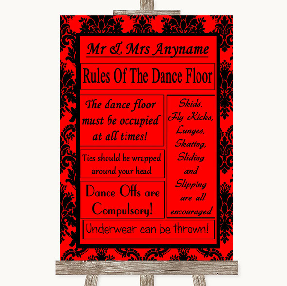 Red Damask Rules Of The Dancefloor Personalised Wedding Sign