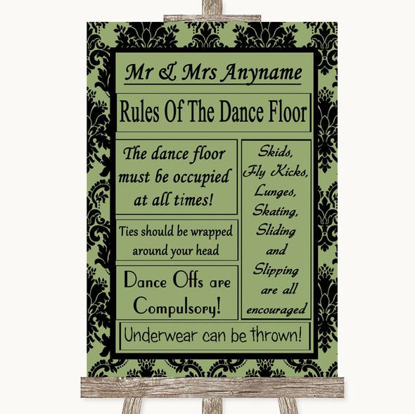 Sage Green Damask Rules Of The Dancefloor Personalised Wedding Sign
