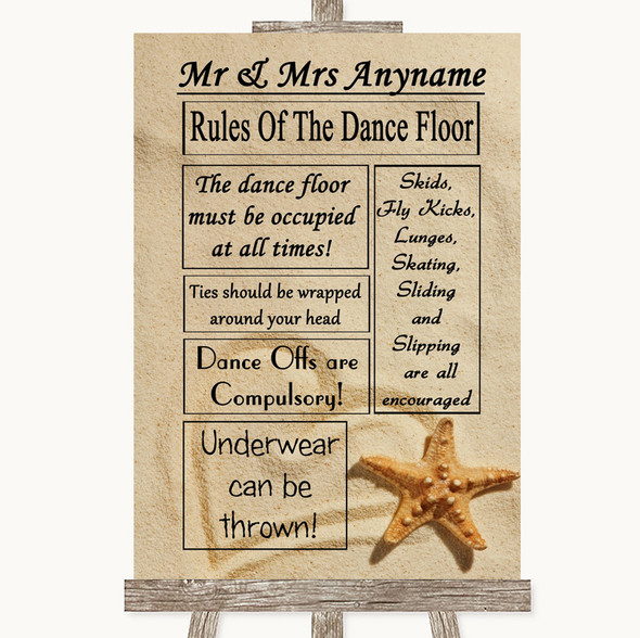 Sandy Beach Rules Of The Dancefloor Personalised Wedding Sign