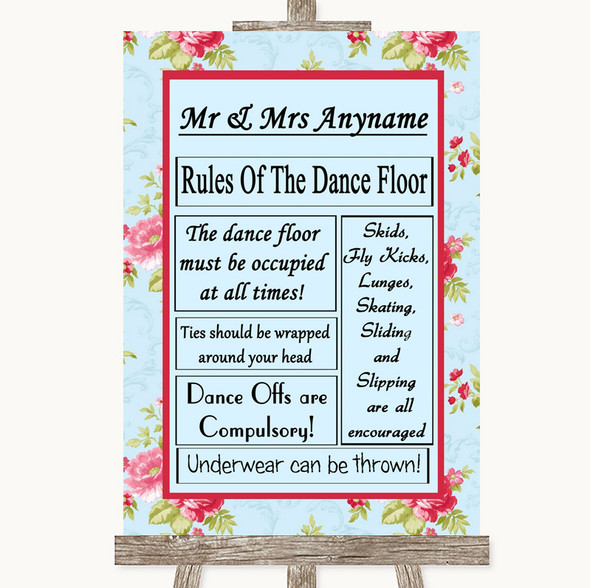 Shabby Chic Floral Rules Of The Dancefloor Personalised Wedding Sign
