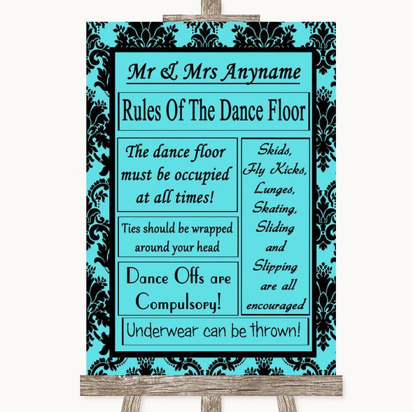 Tiffany Blue Damask Rules Of The Dancefloor Personalised Wedding Sign
