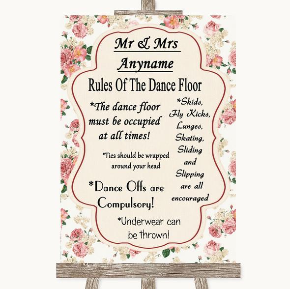 Vintage Roses Rules Of The Dancefloor Personalised Wedding Sign