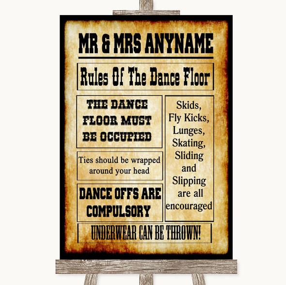 Western Rules Of The Dancefloor Personalised Wedding Sign