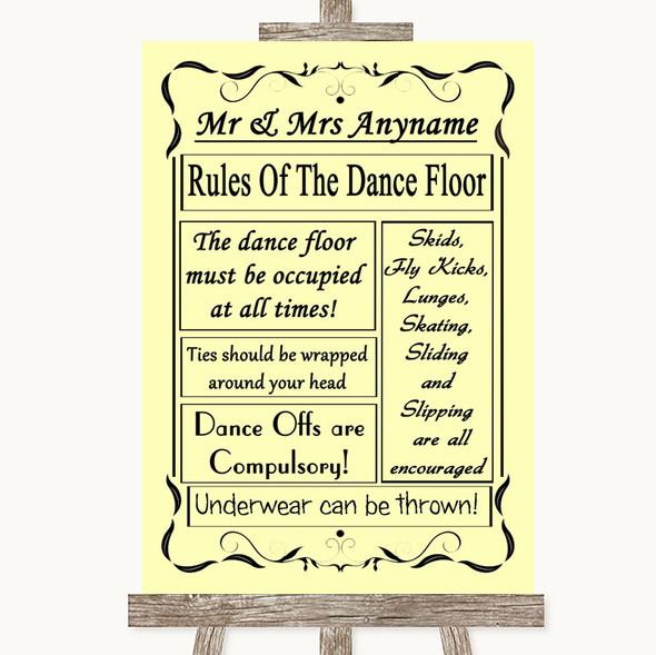 Yellow Rules Of The Dancefloor Personalised Wedding Sign