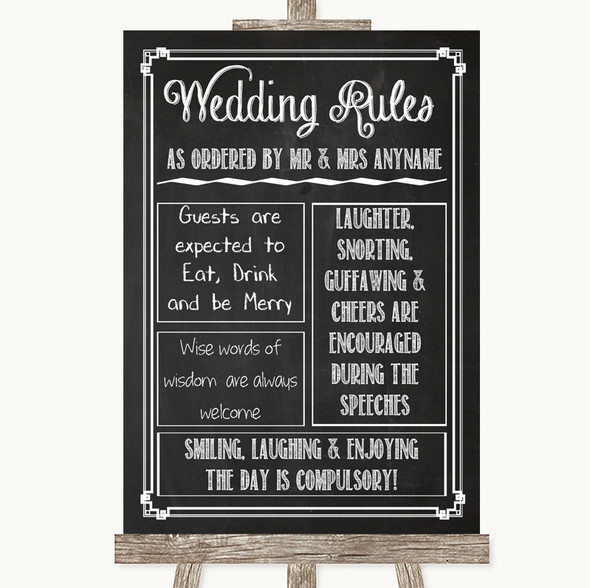 Chalk Sketch Rules Of The Wedding Personalised Wedding Sign